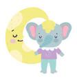 bashower cute elephant half moon cartoon vector image vector image