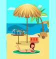 beach rest flat color vector image