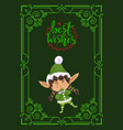 best wishes cute christmas elf girl greeting card vector image vector image