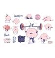 Brain stickers fitness set vector image vector image