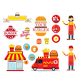 Burger Shop Graphic Elements vector image