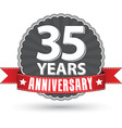 Celebrating 35 years anniversary retro label with vector image vector image