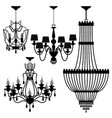 chandelier black silhouette a set of chandelier vector image vector image