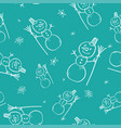 christmas doodle seamless pattern with hand drawn vector image vector image