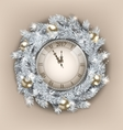 Christmas Wreath with Clock and Golden Balls for vector image