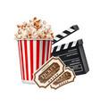 cinema poster popcorn clapper board tickers vector image vector image