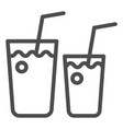 cocktail glasses line icon two beverages vector image vector image