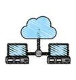 computers sharing cloud vector image