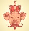 Crown Pig Mustache vector image
