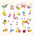 cute butterflies beetles snails set vector image vector image