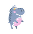 cute cartoon hippo character standing side view vector image vector image