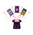 divination cards with ears rabbit in hat vector image