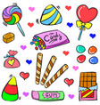 doodle candy various colorful style vector image vector image