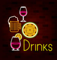 drinks text and beverage set on neon sign on brick vector image