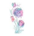 Enchanted Flowers Vignette in Pink and Mint Colors vector image vector image