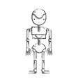 figure robot machine with technology body design vector image