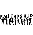 Friendship concept with black sillhouettes of vector image vector image