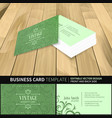 green business card template vintage design vector image vector image