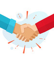 hand shake hands or handshake flat cartoon vector image