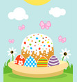 happy easter background card with cake and eggs vector image