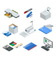 isometric set office tools icons vector image vector image