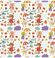 Joyful autumn pattern white vector image