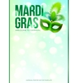 Light green Mardi Gras poster template with bokeh vector image