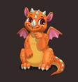 little cute orange dragon fantasy animal funny vector image vector image