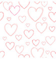 love hearts seamless doodle line pattern vector image