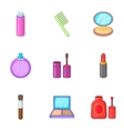 Makeup cosmetics icons set cartoon style vector image vector image