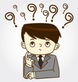 Man with question marks vector image