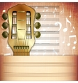 musical background guitar fingerboard with Music vector image vector image