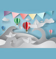 paper art of origami made sailing boat with vector image