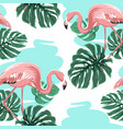 pink flamingos blue lake monstera leaves pattern vector image vector image