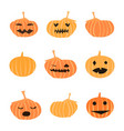 set of halloween cute pumpkins vector image vector image