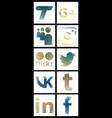 set of social networking icons web design flat vector image vector image