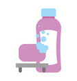 shampoo bottle soap bubbles bathroom vector image
