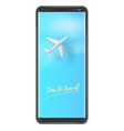 silver plane is flying on clear blue sky on smart vector image