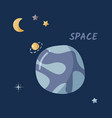 single planet and starry sky in a open space flat vector image vector image