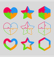 the colorful puzzle shape - heart star hexagon vector image