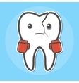 Tooth with a crack wear boxing gloves vector image vector image