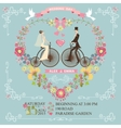 wedding invitationbridegroom on retro bike vector image vector image