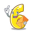 with envelope cartoon number six on the road vector image