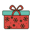 wrapped gift box bow decoration merry christmas vector image vector image