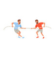 young men pulling rope bearded guys in sportswear vector image vector image