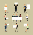 businessman holding banner business woman vector image