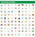 100 dog icons set cartoon style