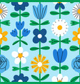 abstract folk flowers seamless pattern vector image vector image