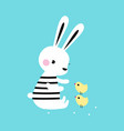 adorable white little bunny playing with little vector image