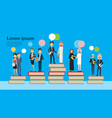 arabic business group on different books stack vector image